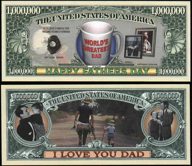 Best ideas about Father'S Day DIY . Save or Pin FATHER S DAY MILLION DOLLAR DAD Lot of 2 Bills Now.
