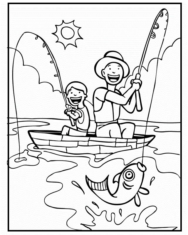 Best ideas about Fathers Day Coloring Pages For Kids . Save or Pin To her with Dad Fishing Father's Day coloring picture Now.