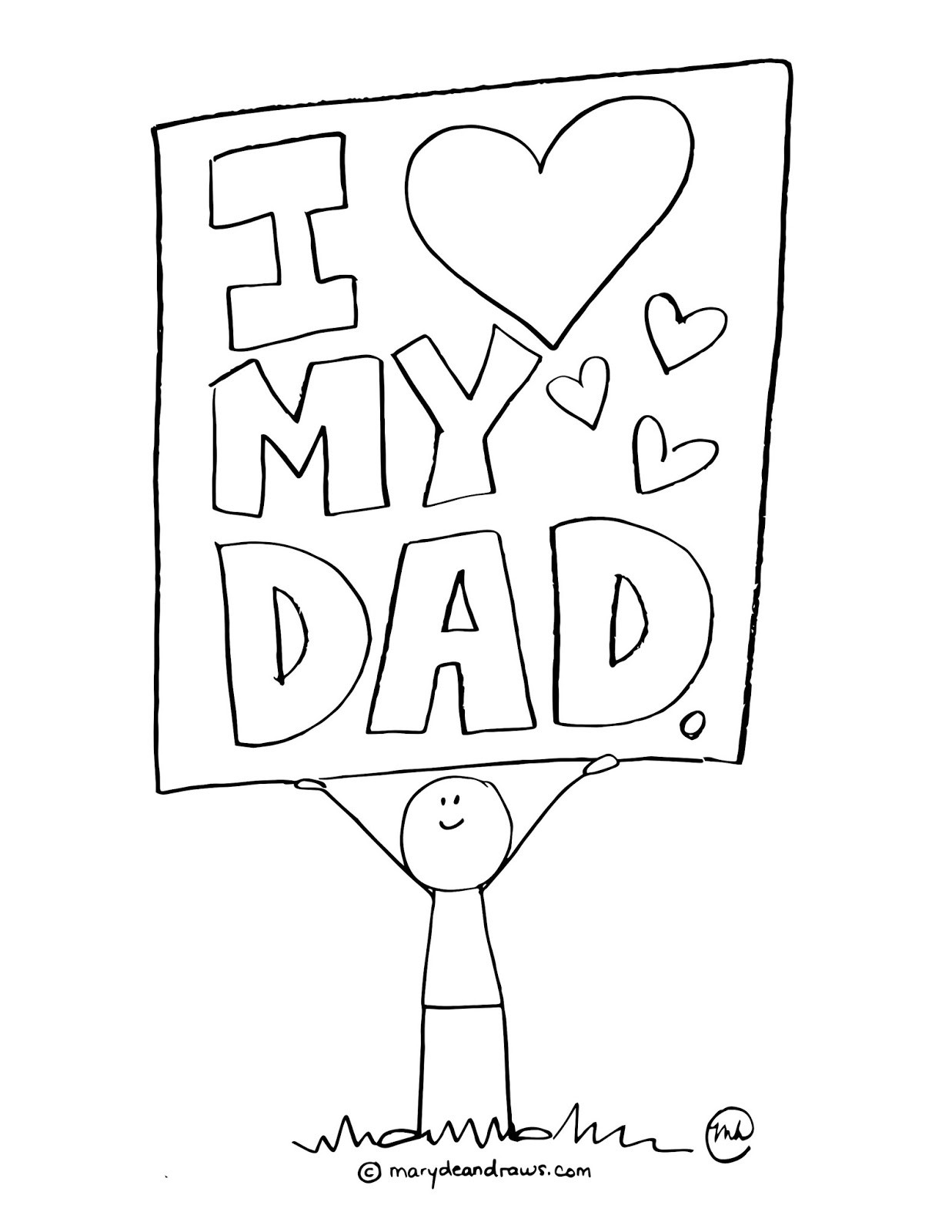 Best ideas about Fathers Day Coloring Pages For Kids . Save or Pin a father s day printable coloring page Marydean Draws Now.