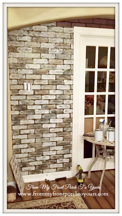 Best ideas about Faux Brick Wall DIY . Save or Pin From My Front Porch To Yours DIY Faux Brick Wall Tutorial Now.