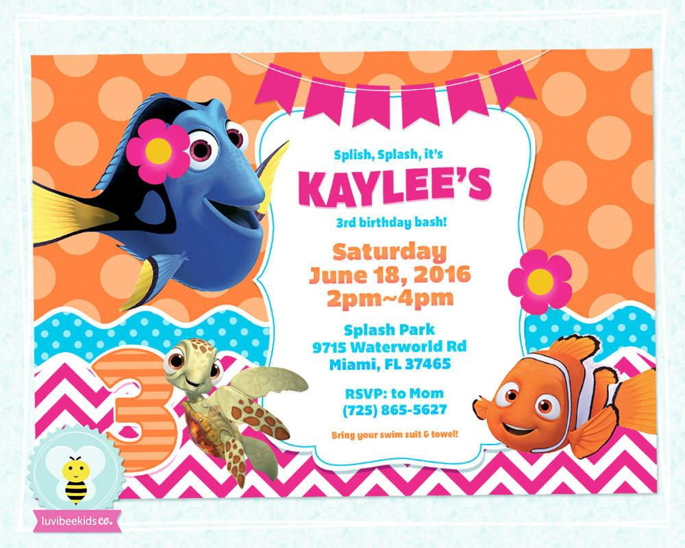 Best ideas about Finding Dory Birthday Invitations . Save or Pin Finding Dory Birthday Invitation Finding Dory Party Now.