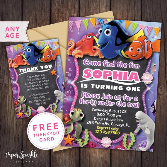Best ideas about Finding Dory Birthday Invitations . Save or Pin Finding Dory Invitation nemo Birthday by PaperSparkleDesigns Now.