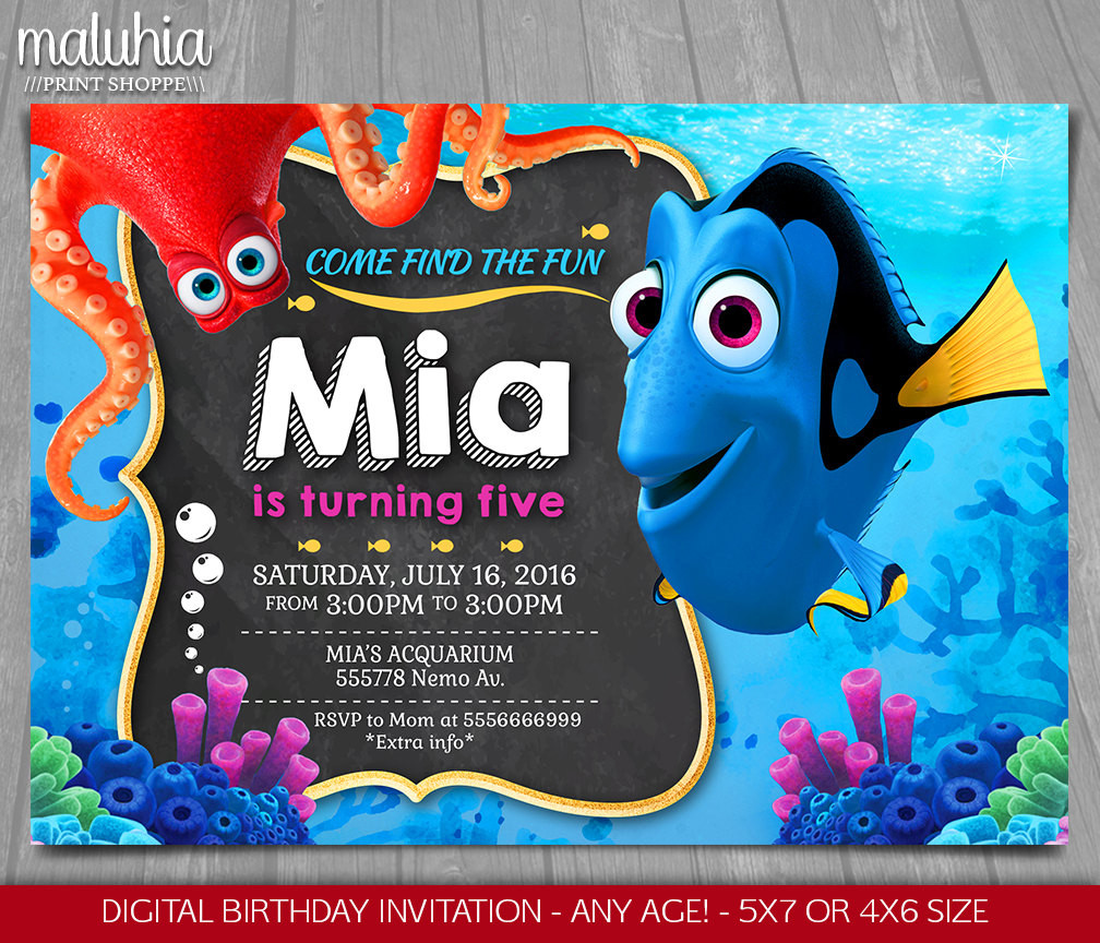 Best ideas about Finding Dory Birthday Invitations . Save or Pin Finding Dory Invitation Finding Nemo Invite Disney Pixar Now.