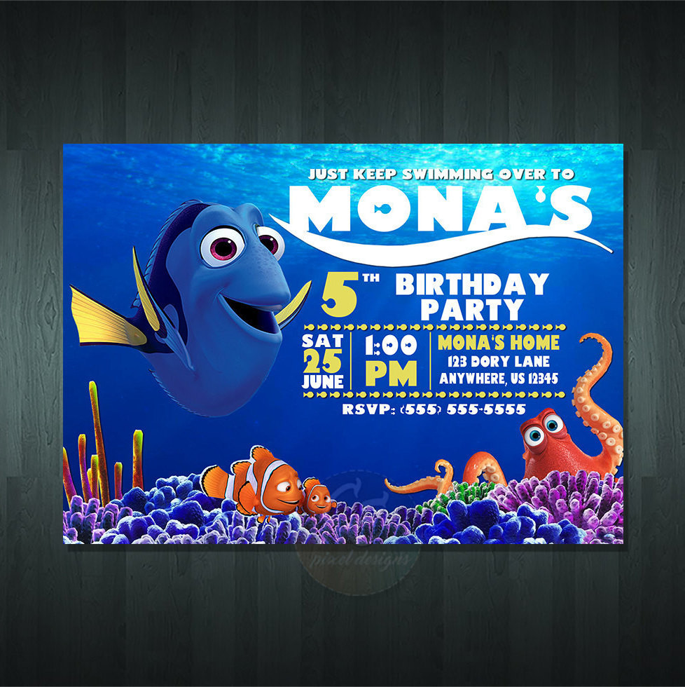 Best ideas about Finding Dory Birthday Invitations . Save or Pin FINDING DORY BIRTHDAY Invitation Digital Item No item Now.