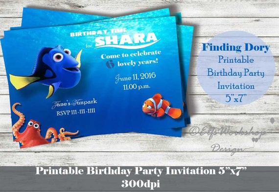 Best ideas about Finding Dory Birthday Invitations . Save or Pin Finding Dory Invitation Printable Birthday by Now.
