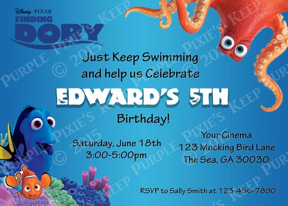 Best ideas about Finding Dory Birthday Invitations . Save or Pin Items similar to Finding Dory Movie Birthday Invitation on Now.