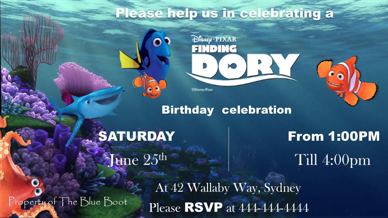 Best ideas about Finding Dory Birthday Invitations . Save or Pin Finding Dory birthday invitation template Now.