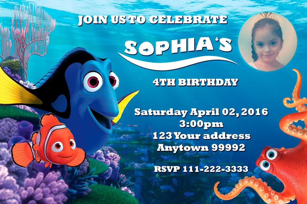 Best ideas about Finding Dory Birthday Invitations . Save or Pin FINDING DORY NEMO Birthday party invitations personalized Now.