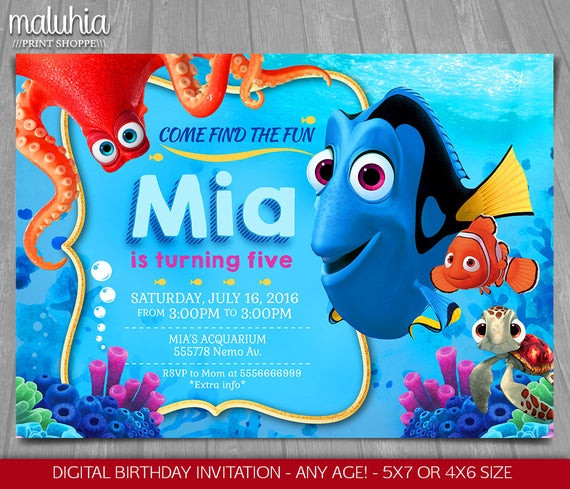 Best ideas about Finding Dory Birthday Invitations . Save or Pin Finding Dory Invitation Finding Nemo Dory Invite Disney Now.