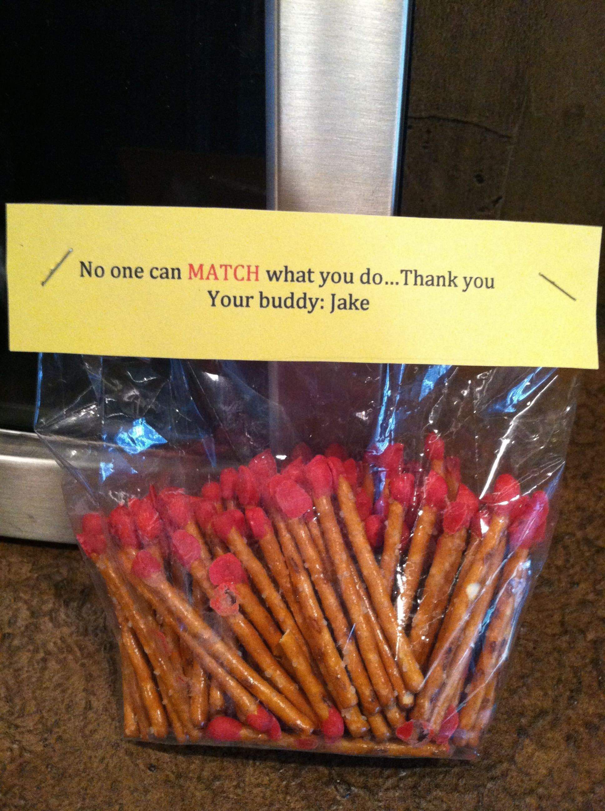 Best ideas about Fireman Gift Ideas . Save or Pin Matches for a fireman t basket pretzel rods dipped in Now.