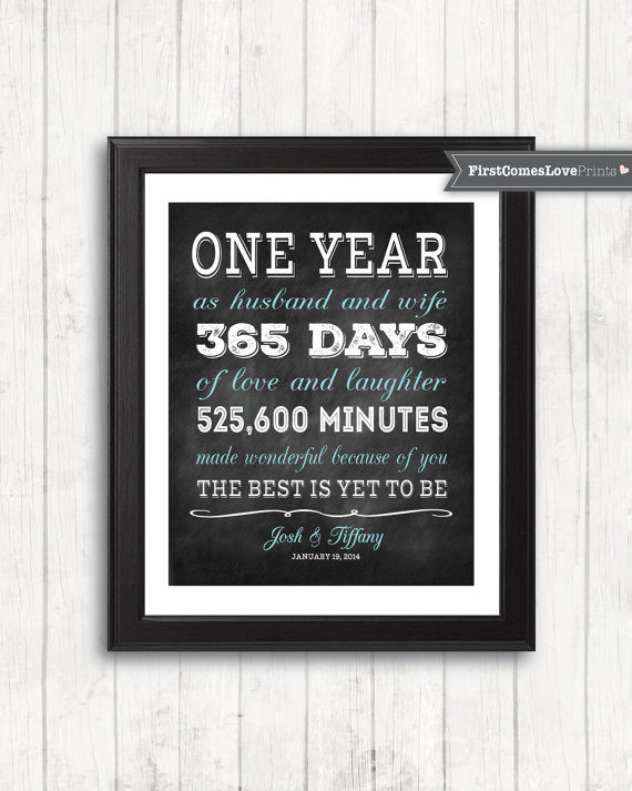 Best ideas about First Anniversary Gift Ideas For Wife . Save or Pin Chalkboard Style First Anniversary Gift for Husband for Now.