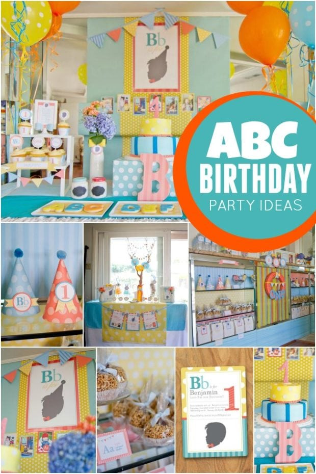 Best ideas about First Birthday Decorations Boys . Save or Pin ABC Themed 1st Birthday Party Now.