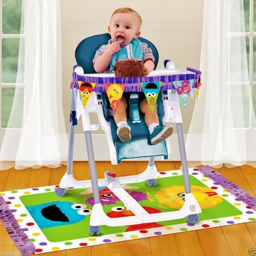 Best ideas about First Birthday Highchair Decorations . Save or Pin Sesame Street 1st Birthday HighChair Decorating Kit Party Now.