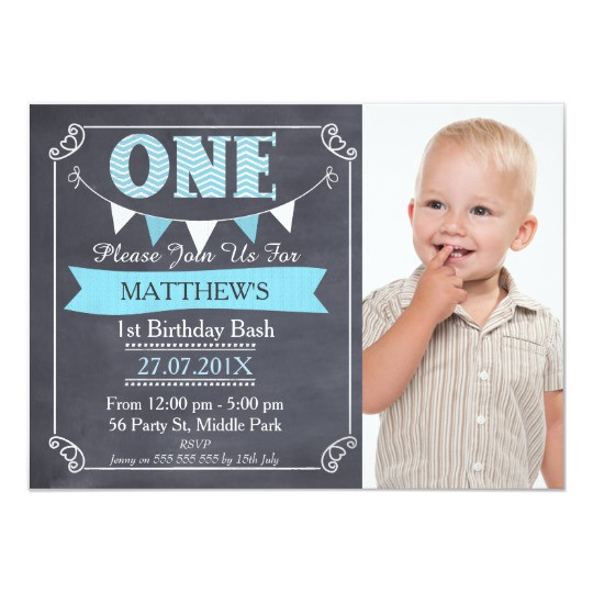 Best ideas about First Birthday Invitations Boy . Save or Pin Boys Chalkboard Bunting 1st Birthday Invitation Now.