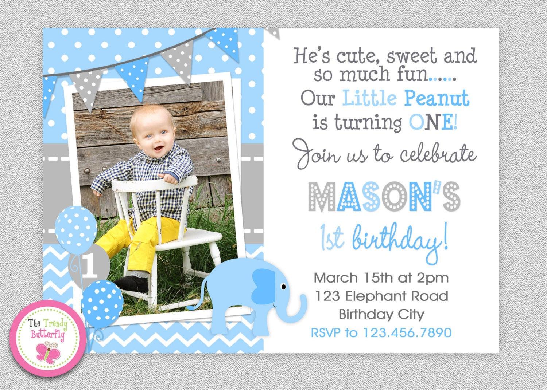 Best ideas about First Birthday Invitations Boy . Save or Pin Boys Elephant Birthday Invitation Elephant Birthday Party Now.