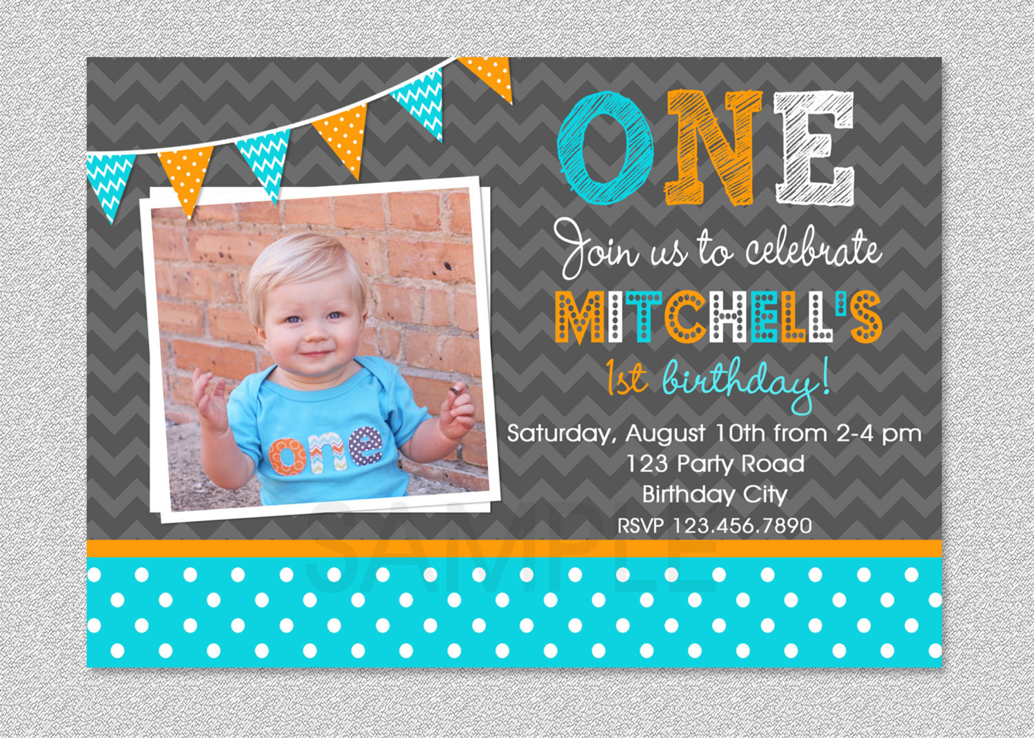 Best ideas about First Birthday Invitations Boy . Save or Pin Boys 1st Birthday Invitation Chevron Polka by Now.