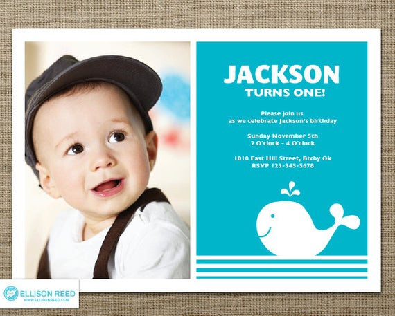 Best ideas about First Birthday Invitations Boy . Save or Pin Whale Invitation 1st Birthday Invitation Nautical Boy Now.
