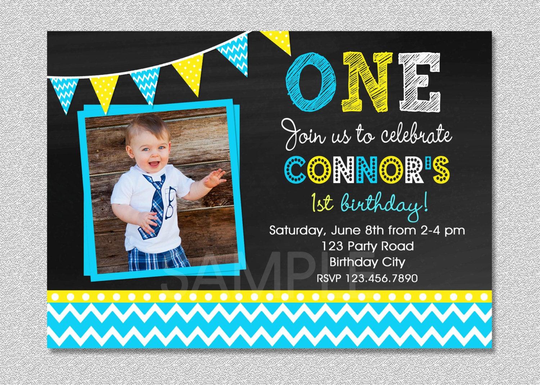 Best ideas about First Birthday Invitations Boy . Save or Pin Chalkboard Birthday Invitation Chevron Chalkboard Boys Now.