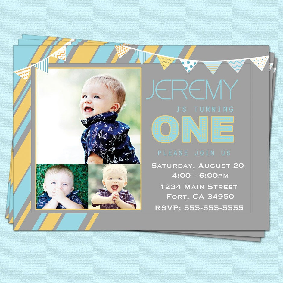 Best ideas about First Birthday Invitations Boy . Save or Pin First 1st Birthday Invitations Boy Modern First by Now.