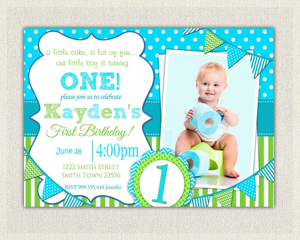 Best ideas about First Birthday Invitations Boy . Save or Pin Boys 1st Birthday Invitation Blue and Green Dots Stripes Now.