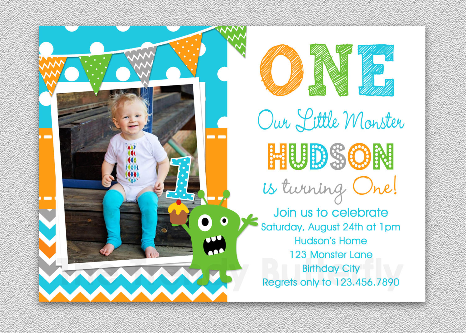 Best ideas about First Birthday Invitations Boy . Save or Pin Boys 1st Birthday Invitation Monster 1st Birthday Invitation Now.
