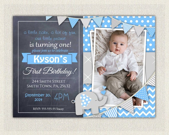 Best ideas about First Birthday Invitations Boy . Save or Pin Elephant Boys Blue Grey 1st Birthday Invitation Download Now.