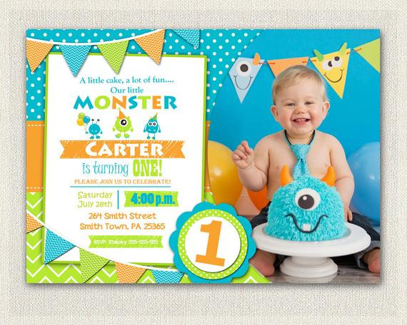 Best ideas about First Birthday Invitations Boy . Save or Pin First Birthday Invitation Boys monster 1st Birthday Boys Now.