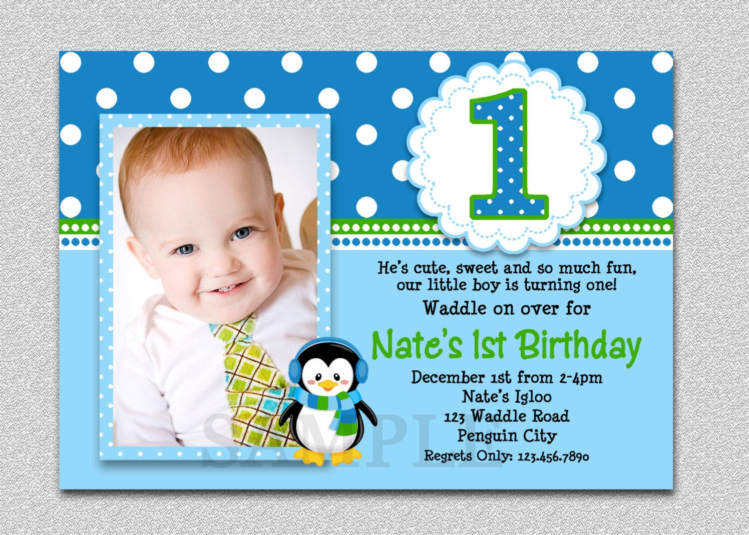 Best ideas about First Birthday Invitations Boy . Save or Pin Penguin Birthday Invitation Penguin 1st Birthday Party Invites Now.