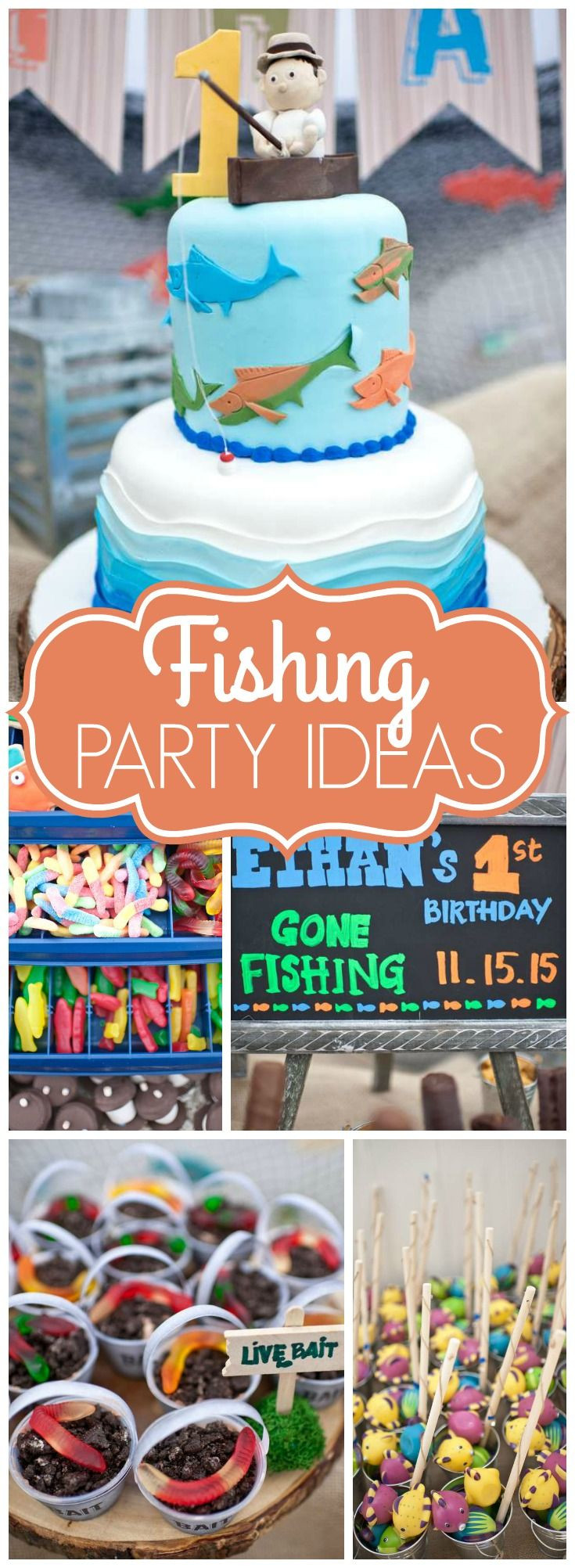 """Best ideas about First Birthday Party Themes Boys . Save or Pin Gone Fishing Birthday """"Ethan s Gone Fishing 1st Birthday Now."""