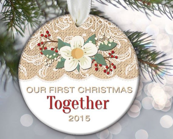 Best ideas about First Christmas Together Gift Ideas . Save or Pin Our First Christmas To her Burlap and lace Couples Now.