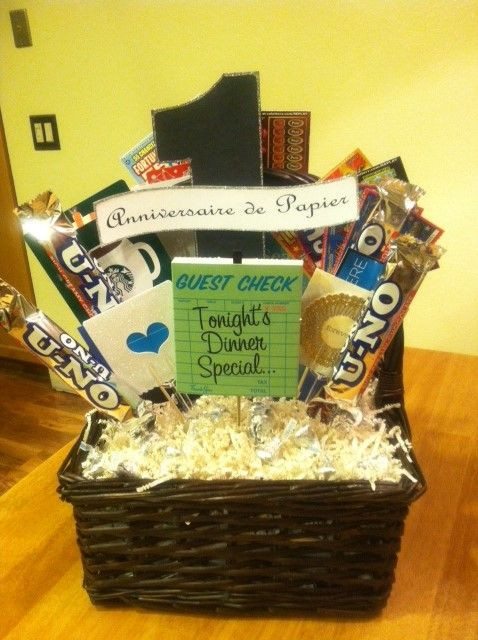 Best ideas about First Valentine'S Day Gift Ideas For Him . Save or Pin 1st Wedding Anniversary Gift Basket Dianna made this t Now.