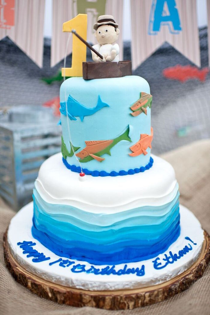Best ideas about Fishing Birthday Cake . Save or Pin Kara s Party Ideas Colorful Gone Fishing Birthday Party Now.