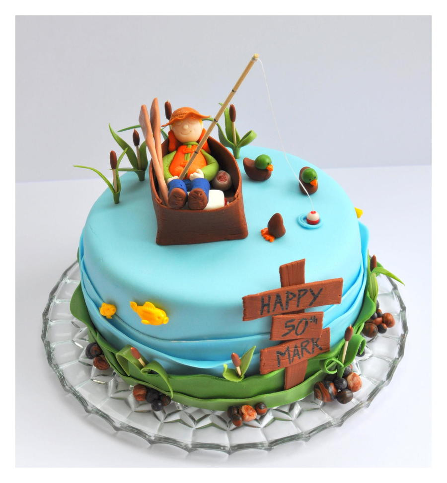 Best ideas about Fishing Birthday Cake . Save or Pin Fishing Cake With Fisherman Fish Ducks Cattails Now.