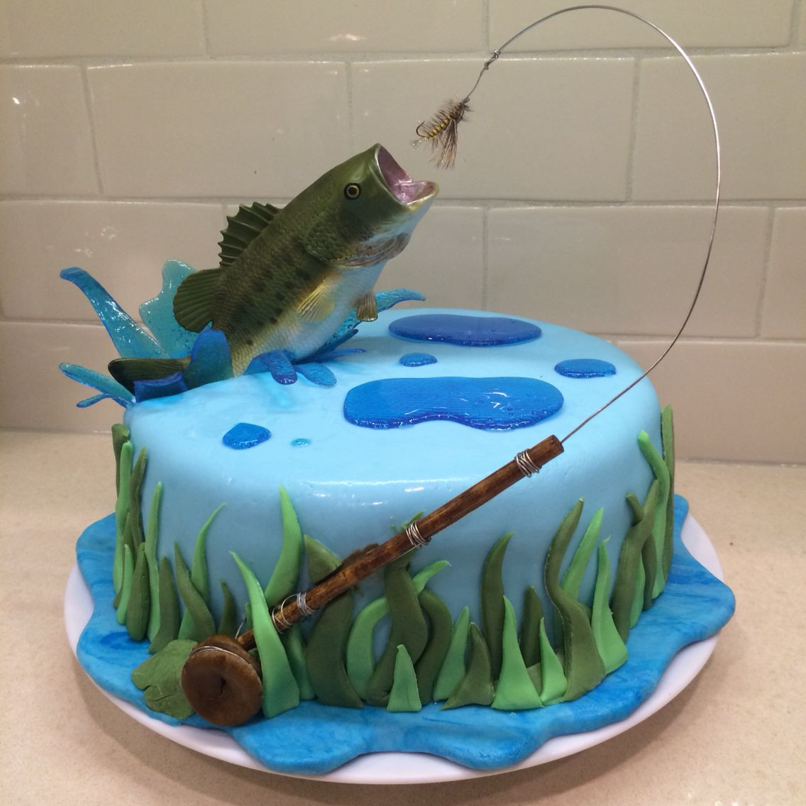 Best ideas about Fishing Birthday Cake . Save or Pin Fly fishing cake for my hubby Bass jumping out of water Now.