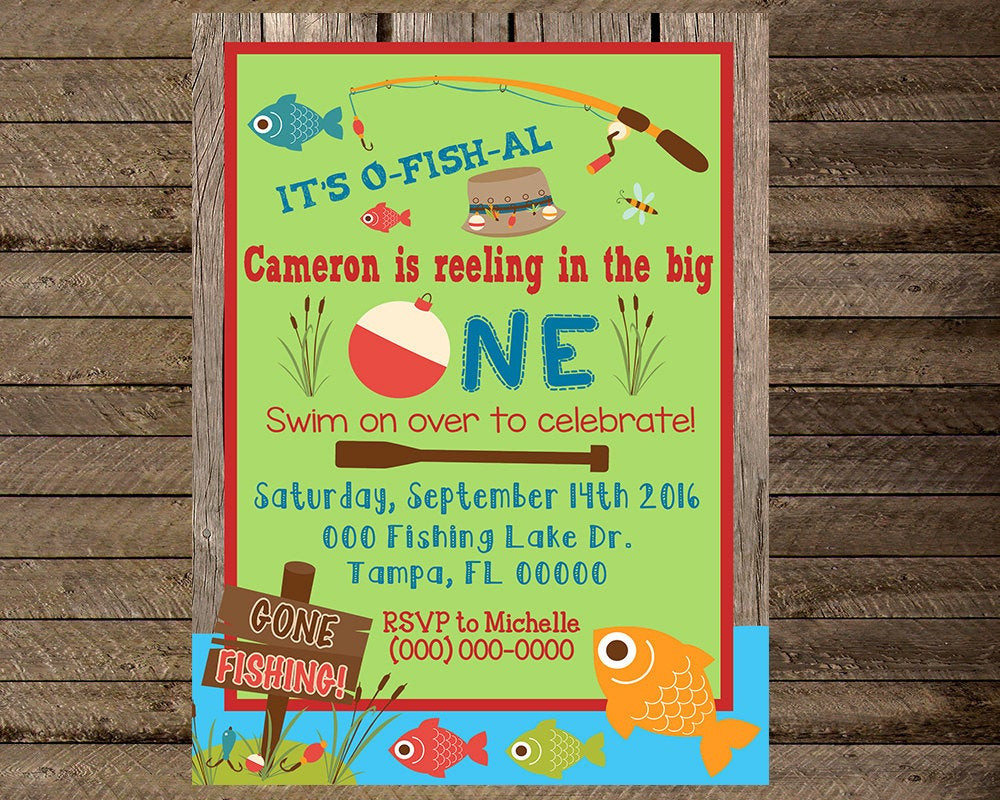 Best ideas about Fishing Birthday Invitations . Save or Pin Fishing invite fishing invitation first birthday fishing Now.