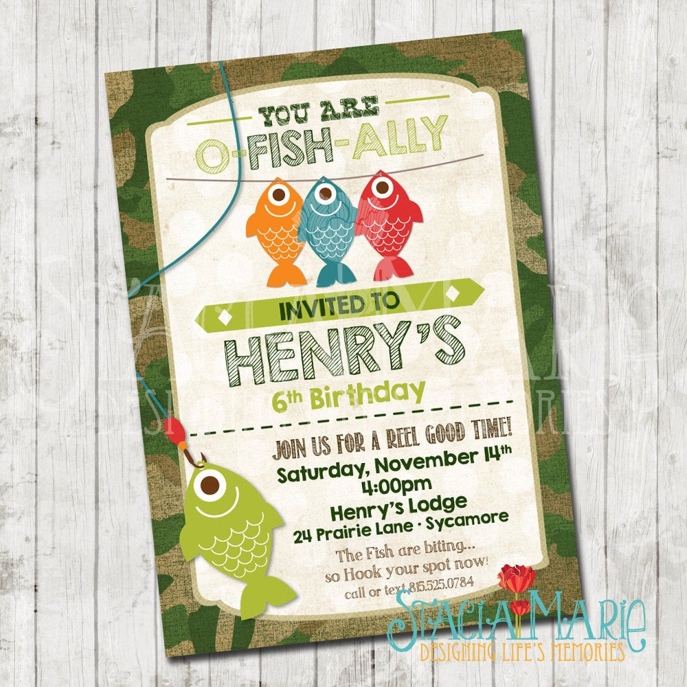 Best ideas about Fishing Birthday Invitations . Save or Pin Boys Fishing Birthday Invitation Now.