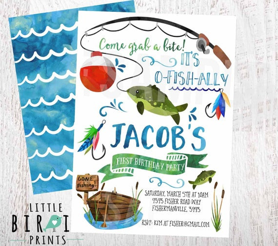 Best ideas about Fishing Birthday Invitations . Save or Pin FISHING BIRTHDAY INVITATION Fishing First Birthday Invitation Now.