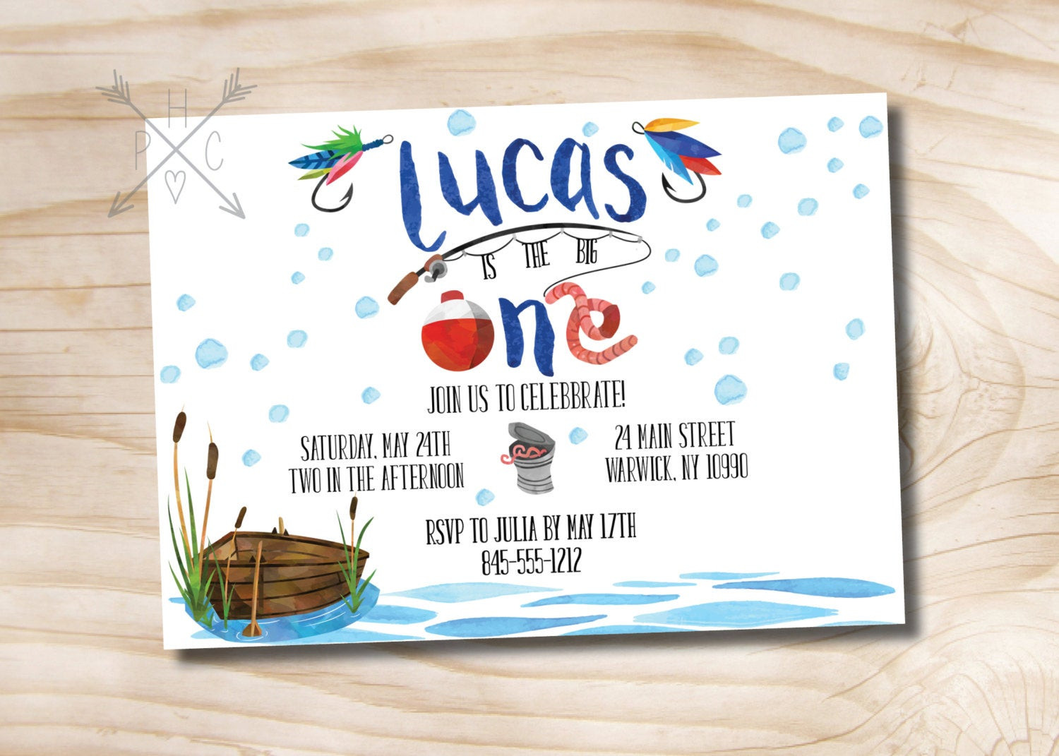 Best ideas about Fishing Birthday Invitations . Save or Pin Fishing Birthday Invitation Watercolor Fishing Invitation Now.