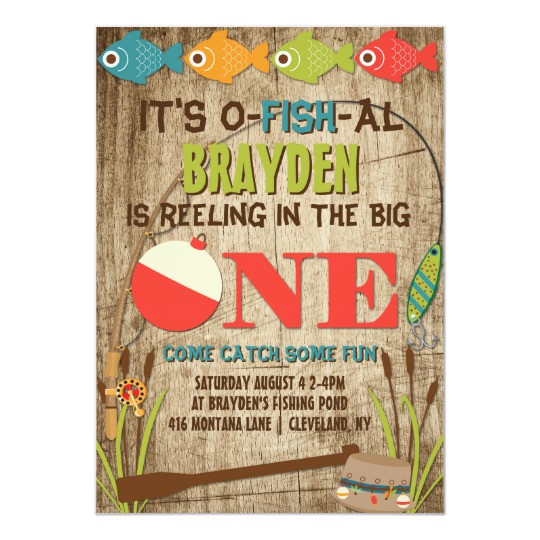 Best ideas about Fishing Birthday Invitations . Save or Pin The Big e Fishing Theme Boys First Birthday Card Now.