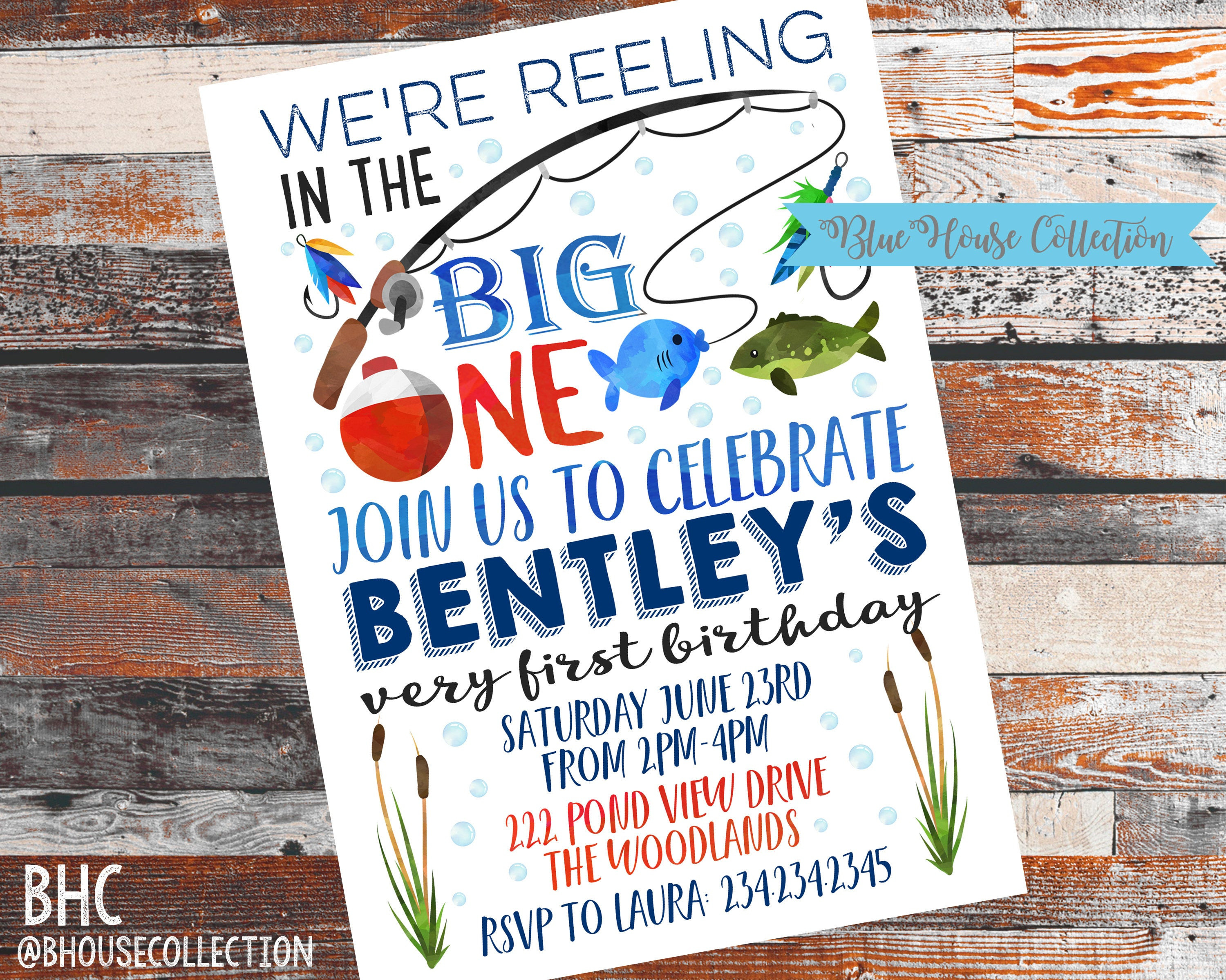 Best ideas about Fishing Birthday Invitations . Save or Pin Fishing Birthday Invite BIG ONE invitation 1st birthday Now.