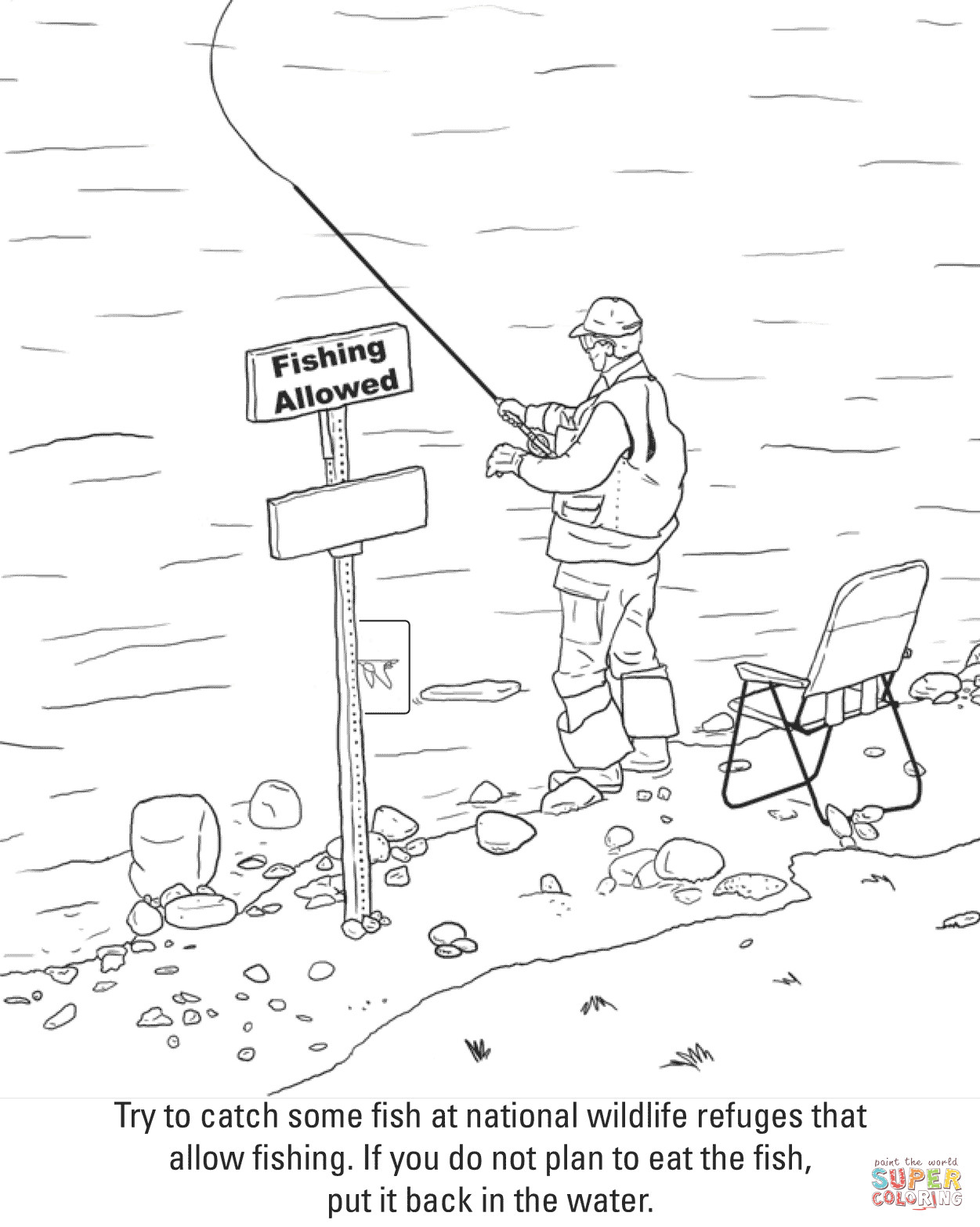 Best ideas about Fishing Printable Coloring Pages . Save or Pin Fishing coloring page Now.
