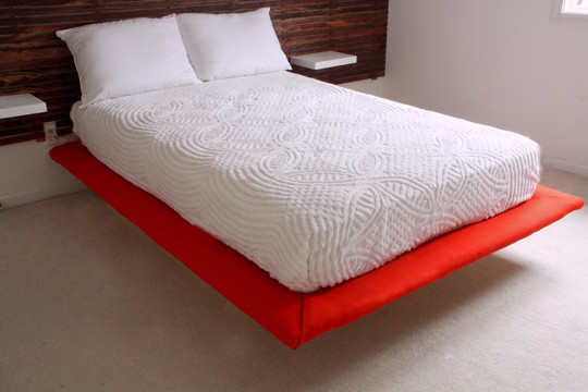 Best ideas about Floating Bed DIY . Save or Pin DIY Slatted Headboard with Upholstered Floating Platform Now.