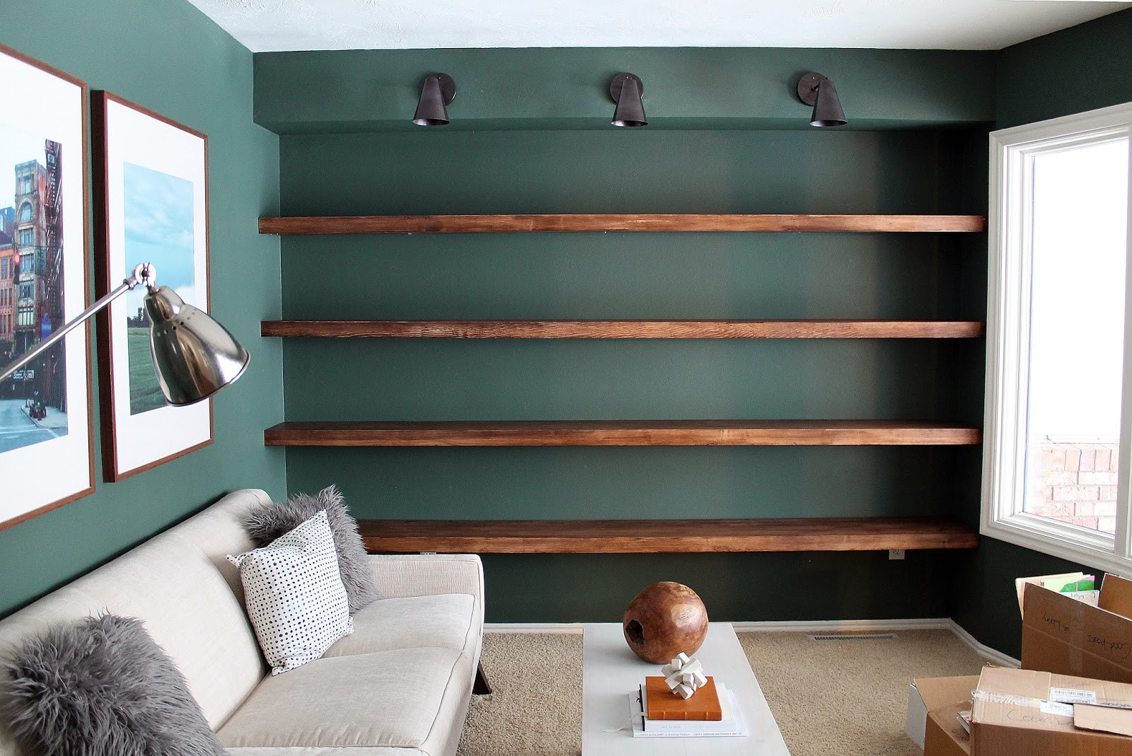 Best ideas about Floating Bookshelves DIY . Save or Pin DIY Solid Wood Wall to Wall Shelves Chris Loves Julia Now.