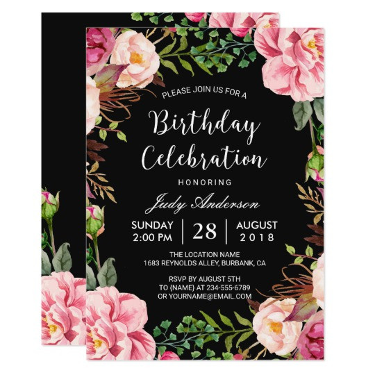 Best ideas about Floral Birthday Invitations . Save or Pin Beautiful Pink Floral Wreath Girly Birthday Party Card Now.