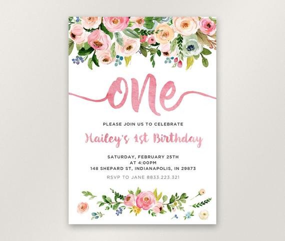 Best ideas about Floral Birthday Invitations . Save or Pin Floral 1st Birthday Invitation Girl First Birthday Now.