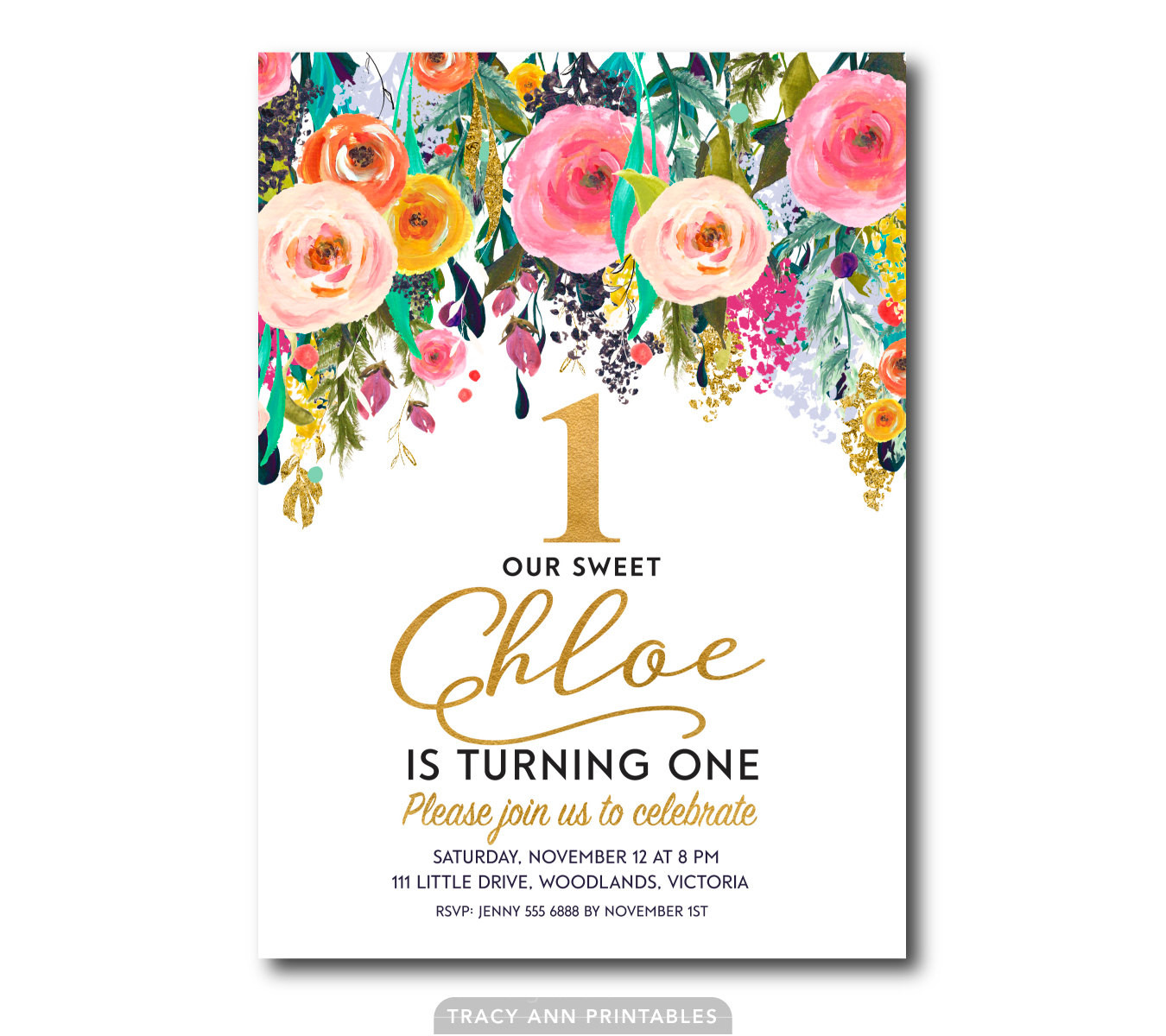 Best ideas about Floral Birthday Invitations . Save or Pin Floral 1st Birthday Invitation Flower Girl Birthday Now.