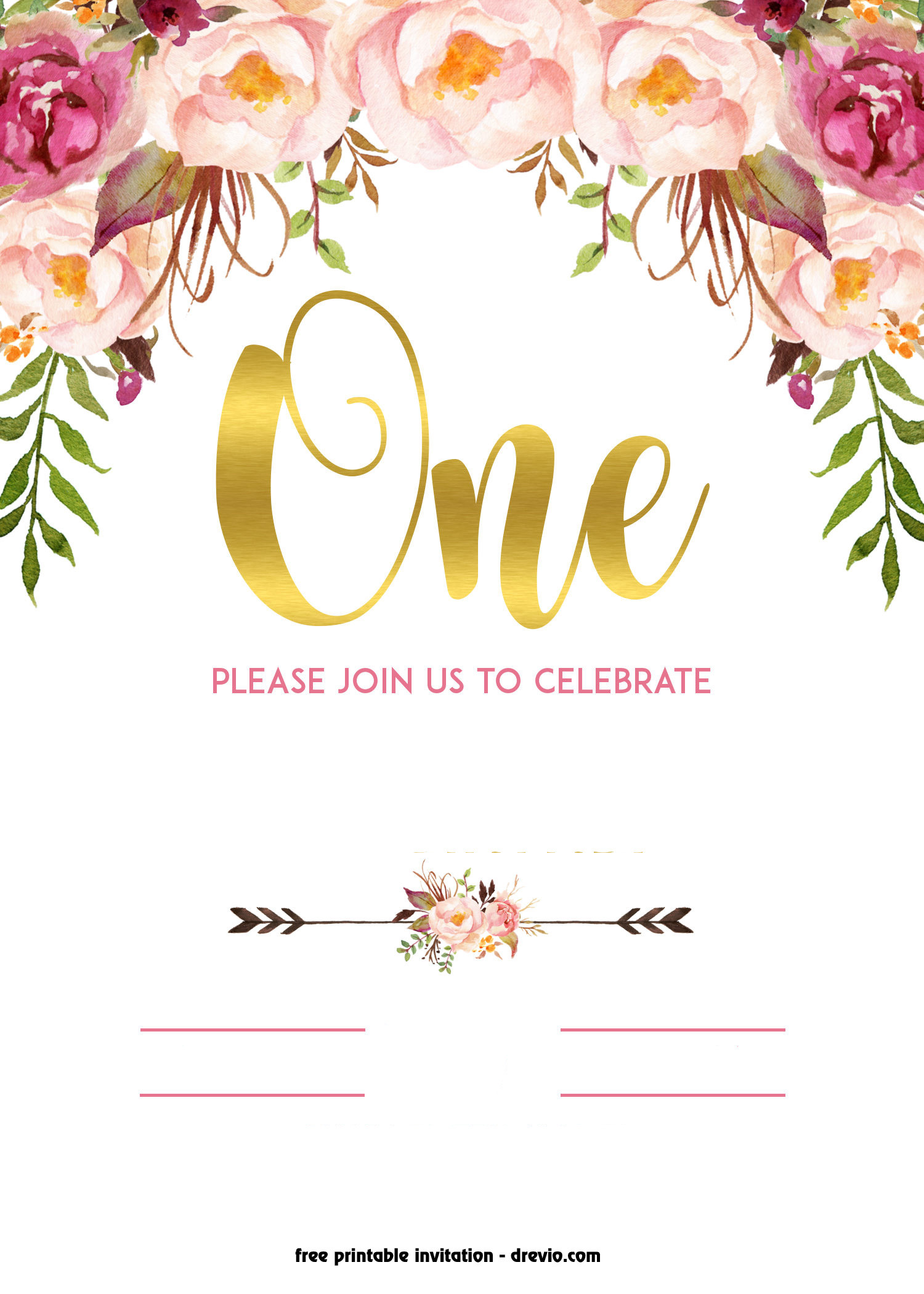 Best ideas about Floral Birthday Invitations . Save or Pin FREE Printable 1st Birthday Invitation – Vintage Style Now.