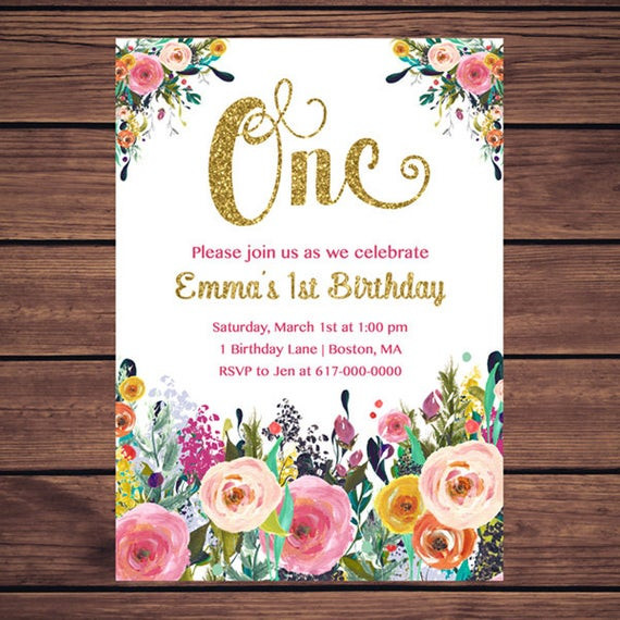 Best ideas about Floral Birthday Invitations . Save or Pin Floral 1st Birthday Invitation Girl Any Age Floral Pink Gold Now.