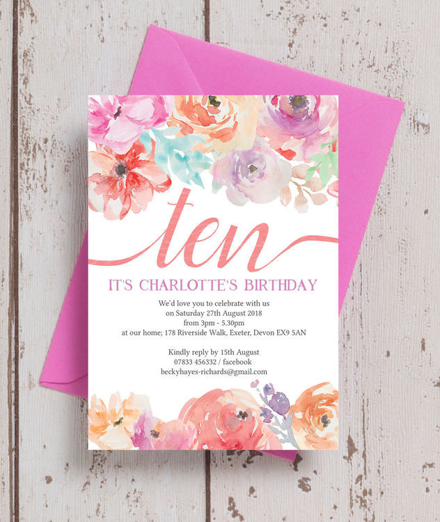 Best ideas about Floral Birthday Invitations . Save or Pin Pastel Floral Birthday Party Invitation from £0 80 each Now.