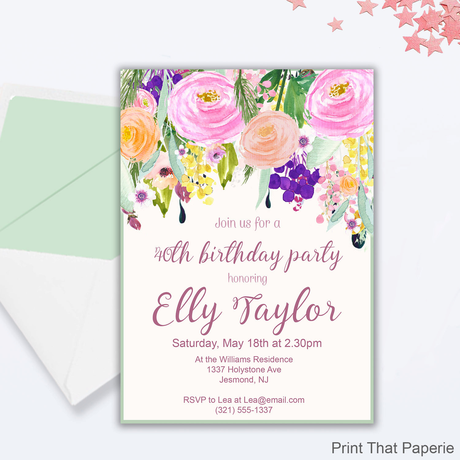 Best ideas about Floral Birthday Invitations . Save or Pin Floral Birthday Invitation Floral 30th 40th 50th Now.